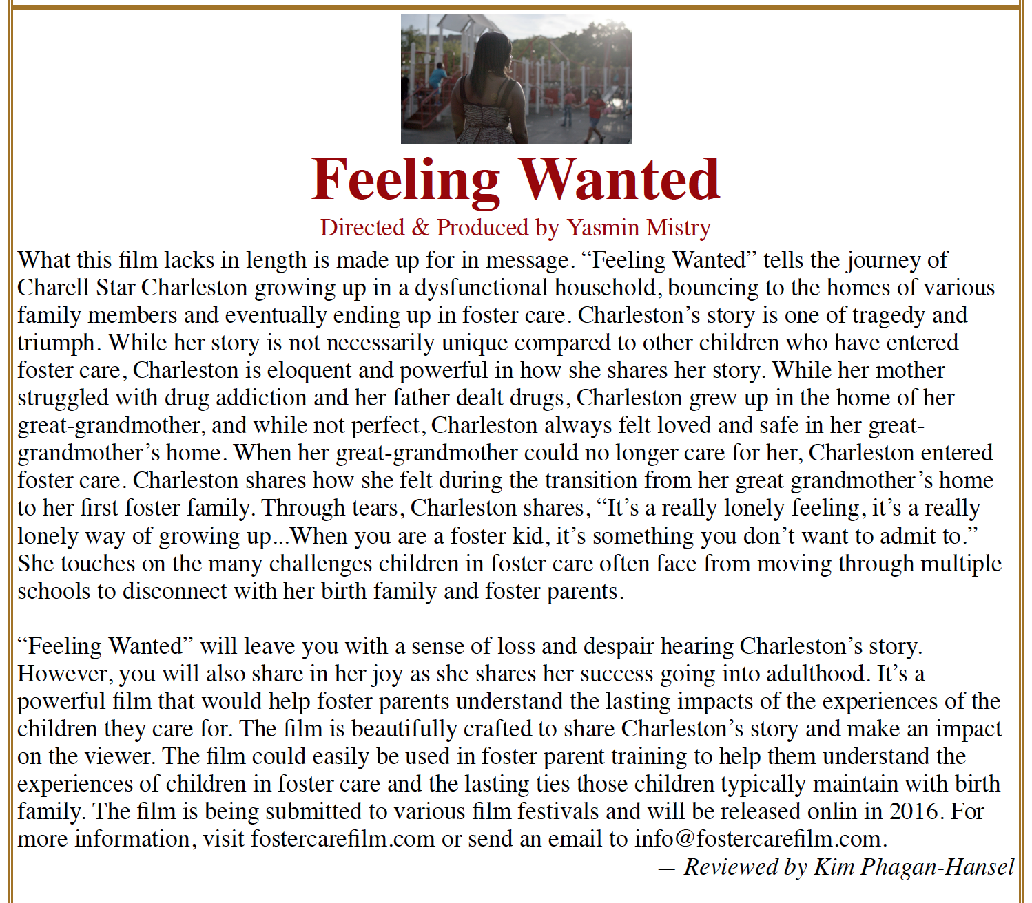 Press :: Foster Care Film & Community Engagement Project